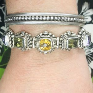 BASuarti Amethyst Peridot Sterling Silver Bracelet